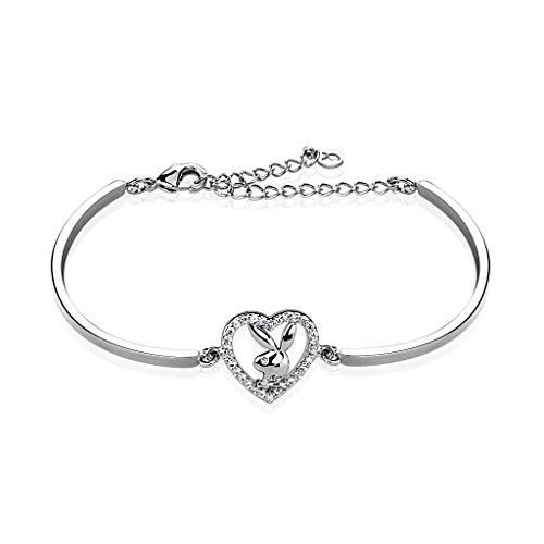 (Multi Paved Gemmed Playboy Bunny Heart 316L Stainless Steel Cuff Bracelet (Length: 6.5