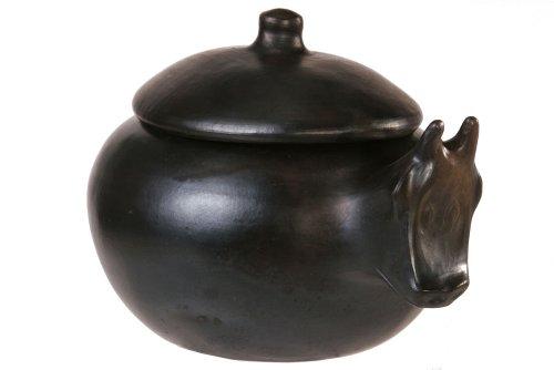 La Chamba Black Clay Cow Pot (4.5 Qt)