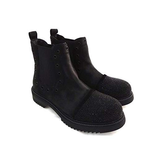 1504 Pelle 1504 In Fiori Di Donna Boot Nero Mercante Slavati Beatles Chelsea Oxwn4PR