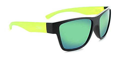Optic Nerve Tag, Matte Black with Crystal Green Frame, Polarized Smoke with Green Mirror Lens