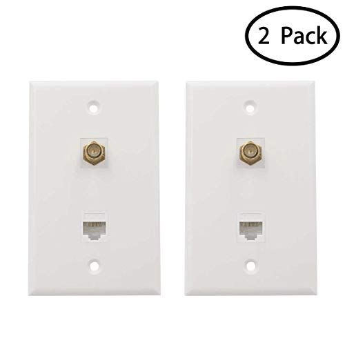 MicVista CT02 1 Cat6 Ethernet Port and 1 Gold-plated Cable TV Coax F Type Port Wall Plate Pack of 2 - White ()