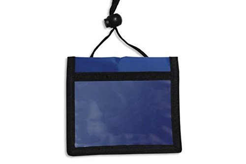 Blue 3-Pocket Credential Wallet with Adjustable Neck Cord by Specialist ID, Sold Individually ()