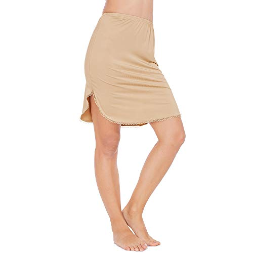 (Half Slips for Women Underskirt Short Mini Skirt with Floral Lace Trim Light Brown XXX-Large)