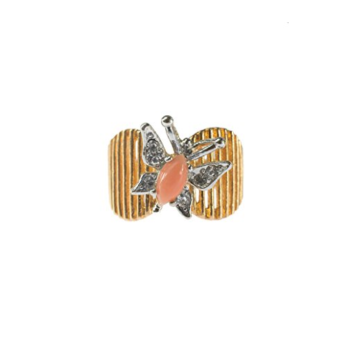 Providence Vintage Jewelry Butterfly Ring Genuine Coral and Clear Swarovski Crystals 18kt Gold ()