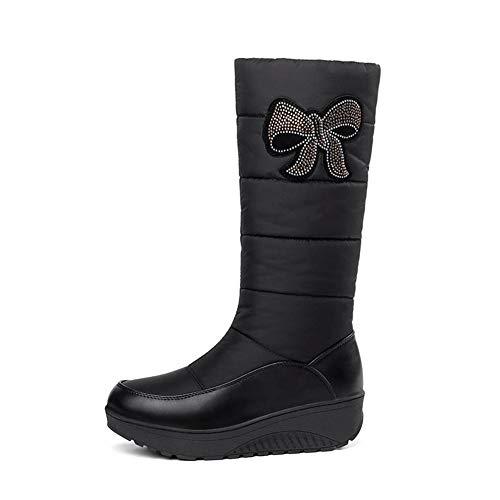 DETAIWIN Women's Trendy Waterproof Rhinestone Faux Fur Lined Mid Calf Mid Wedge Heel Platform Warm Winter Snow Boots