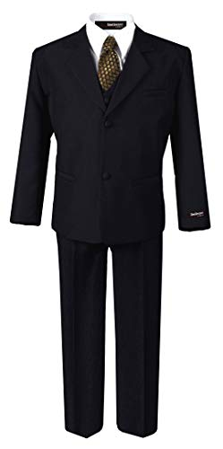 US Fairytailes G187 Black/Gold Formal Boys Kids Dress Suit from Baby to Teen (8, Black/Gold) (Black Gold Prom And Dress)