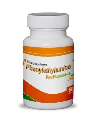 PeakNootropics Pea (Phenylethylamine) Capsules - 60 Count 500 mg Caps - Nootropic Supplement