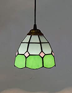 ZYear European Small Chandelier LED With Chain And Simple Mediterranean Creative Stain Glass,Living Room,Restaurant,Bar Table Art Lighting,Green,6/8/12 Inch (Size : 6 Inch)