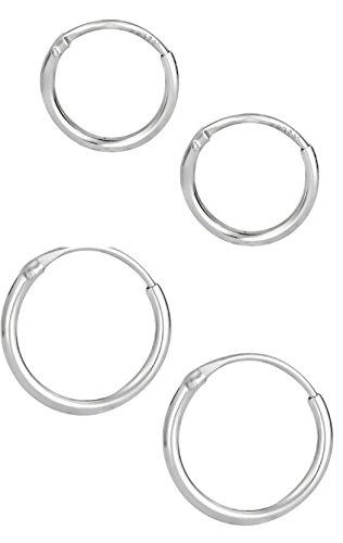 Hypoallergenic Small Sterling Silver Tiny Hoop Earrings for Kids, 10mm-11mm (Nickel Free)