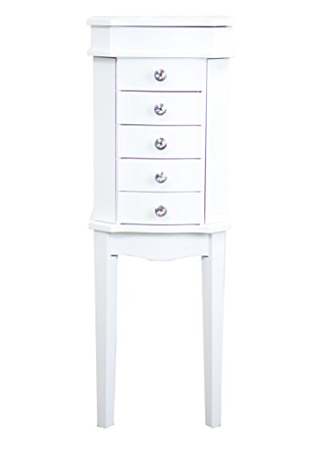 - Hives & Honey Erin 5-Drawer White Jewelry Armoire with Mirror Wood Box Storage Chest Cabinet Organizer