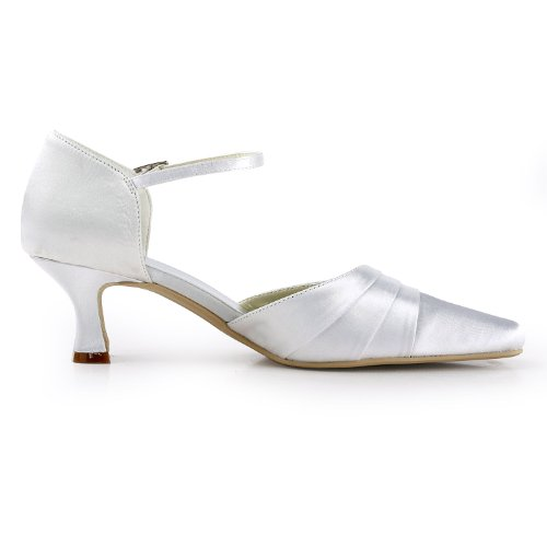 Satin Women Wedding Evening Wide Mid Square Straps White Shoes Heel ElegantPark Toe Ankle 8dHHx