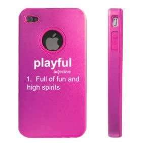 Apple iPhone 4 4S Hot Pink D6928 Aluminum & Silicone Case Cover Definition Playful