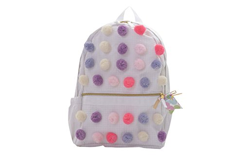 Palm Beach Crew Seersucker Backpack or Mini Seaside Sweets Collection, White Pastel Poms