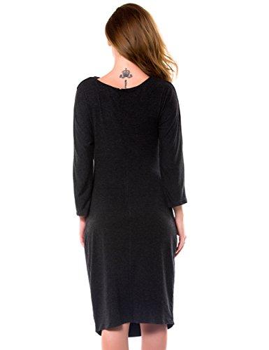 Evening Sheath Draped Women Quarter Solid Three Length 69273 Cotton Dress Knee Black cmz2005 UfOqRzR