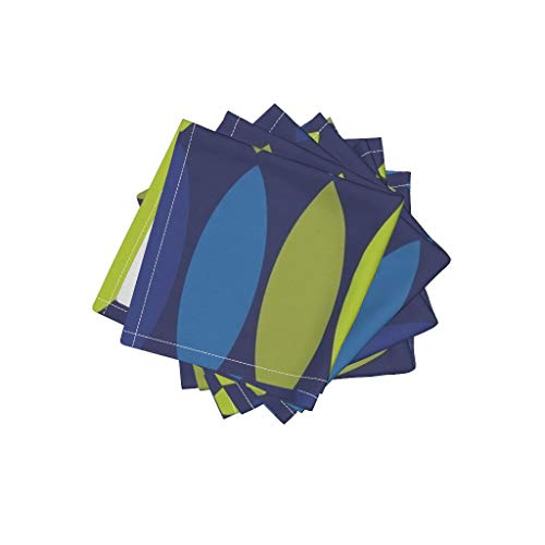 - Roostery Cobalt Blue Olive Navy Linen Cotton Cloth Cocktail Napkins - Midcentury Modern Mod Avocado Green Lime Leaf Vesica Piscis Football Chartreuse Leaves Citro by Wren Leyland (Set of 4) 10 x 10in