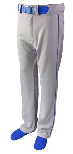 Martin Sports Adult Baseball/Softball Belt Loop Pants, Grey with Color Piping