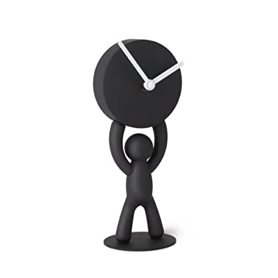 Umbra Buddy Desk Clock, Playful Clock for the Desktop, Soft Touch Finish, Black - UMBRA'S ICONIC BUDDY IN CLOCK FORM: This clock features Umbra's signature buddy figure, seen on many of our products A PLAYFUL DESK CLOCK: A fun clock made for a desk, this piece shows Umbra's iconic buddy, holding up a clock, available in black, featuring a soft touch finish ALAN WINIEWSKI & MATT DAVIS: Buddy's hands are designed to be bend resistant as he is seen carrying a timepiece over his head. - clocks, bedroom-decor, bedroom - 31xcZaJ mcL. SS400  -