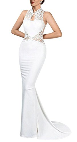 Gown Slim Sleeveless Mesh Night Maxi Fit Lace Patchwork Bodycon White Womens Jaycargogo wRSavqS6