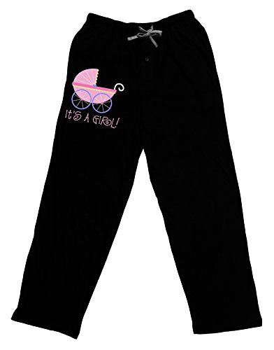 Bottoms Adult Baby (TooLoud It's a Girl - Baby Carriage Adult Lounge Pants - Black- Medium)