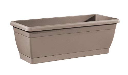 - TABOR TOOLS Plastic 16 Inch Window Box Planter with Attached Saucer, for Indoor and Outdoor Use, Rectangular. VER504A. (Grey)
