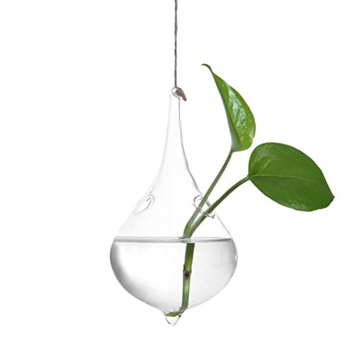 LiPing Hanging Glass Ball Vase Flower Plant Terrarium Candlestick Holder Romantic Home Wedding Birthday Valentine's Day Dinner Decor (D)
