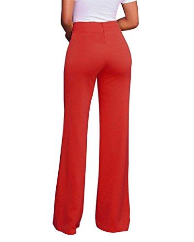 Women Pantalone Rot Pantaloni Grazioso Tuta Larghi Giovane Solidi Fashion Donna Slim Colori Waist Con Elegante Business Tempo Pantaloni High Party Cerniera Pantaloni Autunno Fit Lunga Libero f57q704S