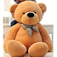 ToyHub Soft Large 4 Feet Teddy Bear With Neck Bow (122 Cm,Brown)
