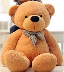 GURUDEV ToyHub Soft Large 4 Feet Teddy Bear with Neck Bow  122 cm,Brown  Animals   Figures