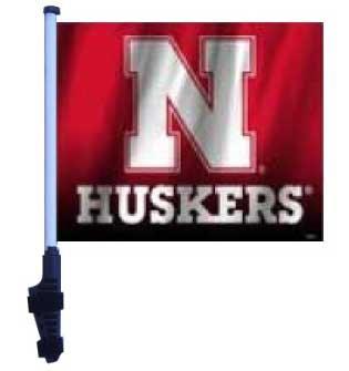 Nebraska Huskers Flag with SSP Flags Pole and EZ On & Off Bracket / Golf Cart Flag Nebraska Huskers Golf