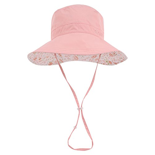 (Wide Brim Bucket Kids Sun Hat UV50+ Protection - Summer Boonie Fishing Beach Toddler Hats with Chin Cord and Flower Pattern Design - Packable Outdoor Children Floppy Cap - Boys Girls Kids Pink)