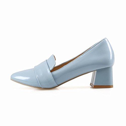 Toe Stylish Modern Pumps Charm Heel Chunky Shoes Pointed Blue Womens Foot Paqqnwx0H
