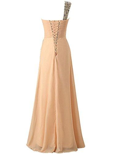 Vestito da sera damigella partito Chiffon Donne Borgogna Lungo PRTS Abito da Vestito Abiti da ballo da Una spalla qHxY6z