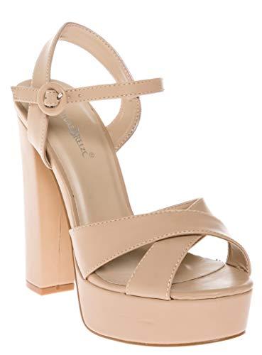 CALICO KIKI CAELA-CK01 Women's Buckle Ankle Strap Open Toe Chunky High Heel Platform Dress Sandals (5.5 US Nude PU)