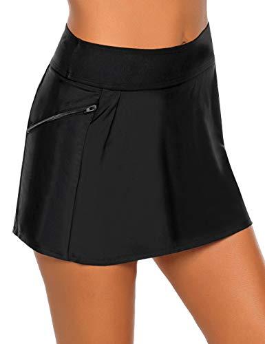 Vetinee Women's Zip Pocket High Waist Bikini Tankini Bottom Swim Skirt Swimsuit