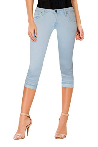 HyBrid & Company Women's Perfectly Shaping Stretchy Denim Capri-Q22883-LightWash-1 ()