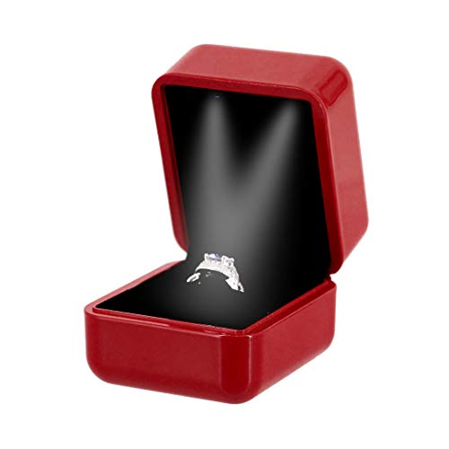 Multifit Rubber Double LED Light Proposal Engagement Ring Jewelry Earring Box(Red)