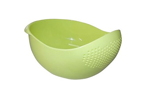 Japanese 4.2Qt (4L) Design Rice Washer Strainer Colanders for Cleaning Vegetable, Fruit, Pasta (Big, Green)