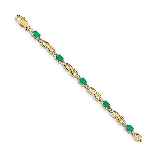 14k Yellow Gold Diamond Green Emerald Oval Bracelet Gemstone Bm Fine Jewelry Gifts For Women For Her
