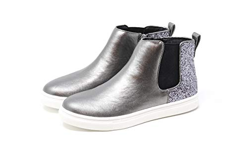 Pewter Glitter Footwear - Nat & Noah | Natalie Girls Sneaker Boot Pull-on High-Top with Glitter Heel Back (Pewter, Little Kid Size 3 M)