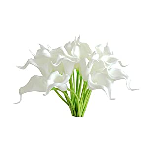 Mandy's 20pcs White Artificial Calla Lily Silk Flowers 13.4″ for Home Kitchen & Wedding (vase not Include)