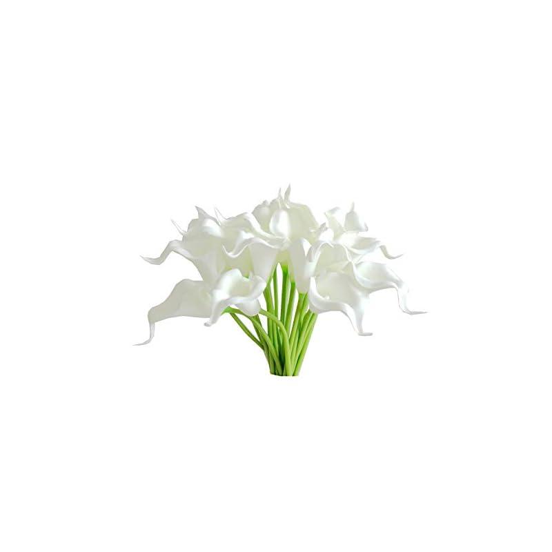"silk flower arrangements mandy's 20pcs white artificial calla lily flowers 13.4"" for home kitchen & wedding decorations"