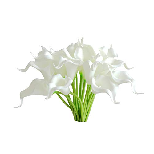 (Mandy's Calla Lily Artificial Flower PU 20pcs for Home Kitchen & Wedding Bouquet vase not Include (White, 20pcs) ...)