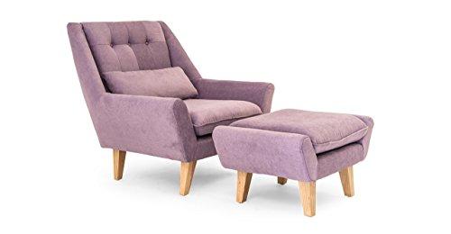 (Kardiel Stuart Mid-Century Modern Lounge Chair & Ottoman, Plush Orchid Vintage Micro-Velvet )