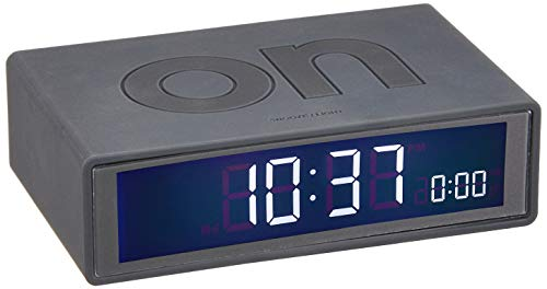 Lexon Flip On/Off Alarm Clock (Charcoal G3) (Travel Flip Alarm Clock)