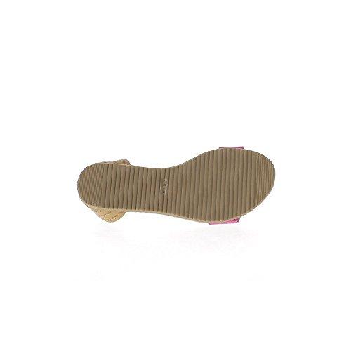 Infradito e fucsie cammello in pelle di aspetto e coccodrillo con caviglia flangia