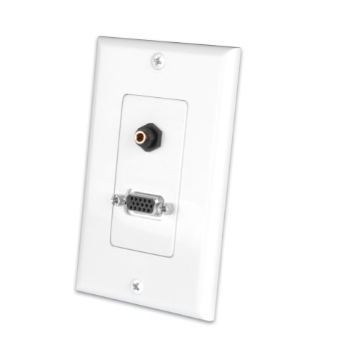 Vanco 281212X S-VGA and 3.5 Millimeter Stereo Jack Decor Wall Plate (White)