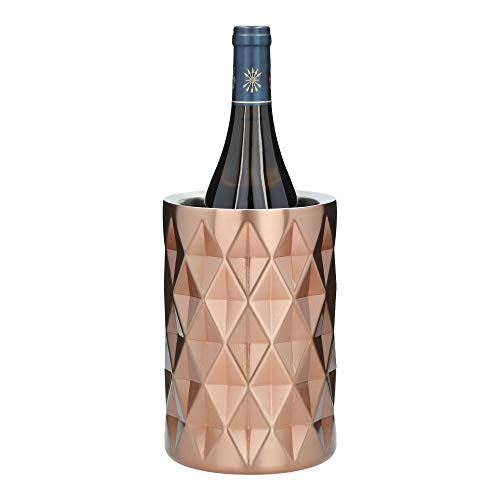UltraLLuxe Wine Chiller Bucket – Stainless Steel Champagne Bucket – Wine Cooler Bucket that keeps cold for hours – Double Walled Insulated Ice Bucket – Premium Accessory for Wine Lovers (Rose Gold)