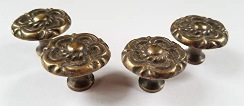 (4 Antique Vintage Style French Provincial Brass Floral Knobs Pulls Handles #K19)