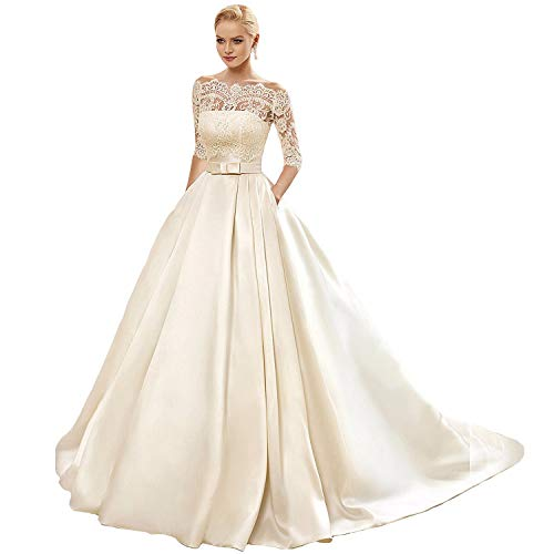 (Yuxin Women's Lace Wedding Dress 3/4 Sleeves Sweep Train Satin Bridal Gown Ivory)