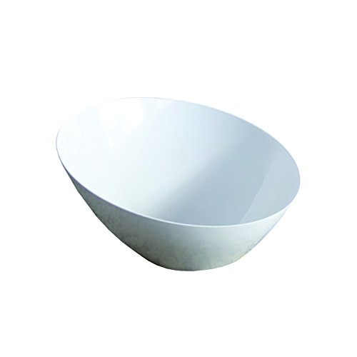 Party Essentials N200404 Hard Plastic Serving Angle Bowls, White (Pack of 12) -